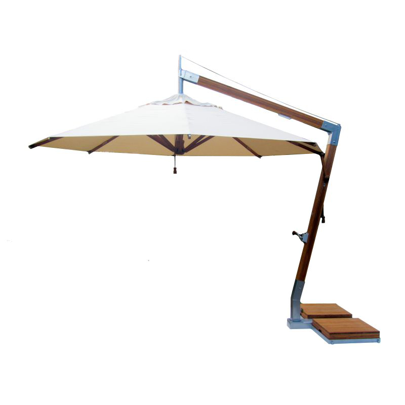 Ø 350 cm | Ampelschirm | Bambus Side Wind | Set mit Bodenhülse-ALL ...